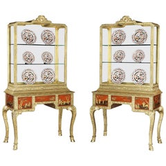 Pair of 20th Century English Cabinets with Gold and Red Lacquer Scenes
