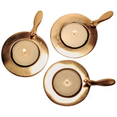 Set of Three One Bird Bronze Tea Light Holders