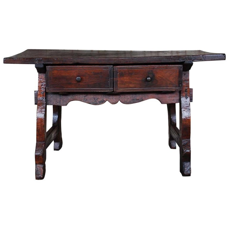 Antique 18th century Spanish baroque chestnut desk or sidetable For Sale