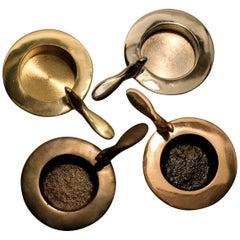 Set of Four, One Bird Bronze and Brass Tea Light Candlerholders