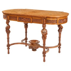 English Satinwood and Marquetry Centre Table by James Plucknett of Warwick