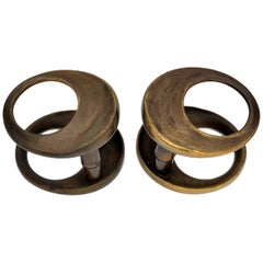 1970s Double Pair of Sculptural Round Bronze Push and Pull Door Handles