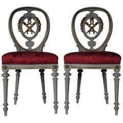 19th Century Pair of Chairs Louis Seize XVI, 1880