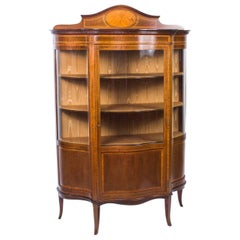 Early 20th Century Edwardian Serpentine Glazed Inlaid Mahogany Display Cabinet