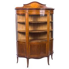 Antique Edwardian Serpentine Glazed Inlaid Mahogany Display Cabinet, circa 1900