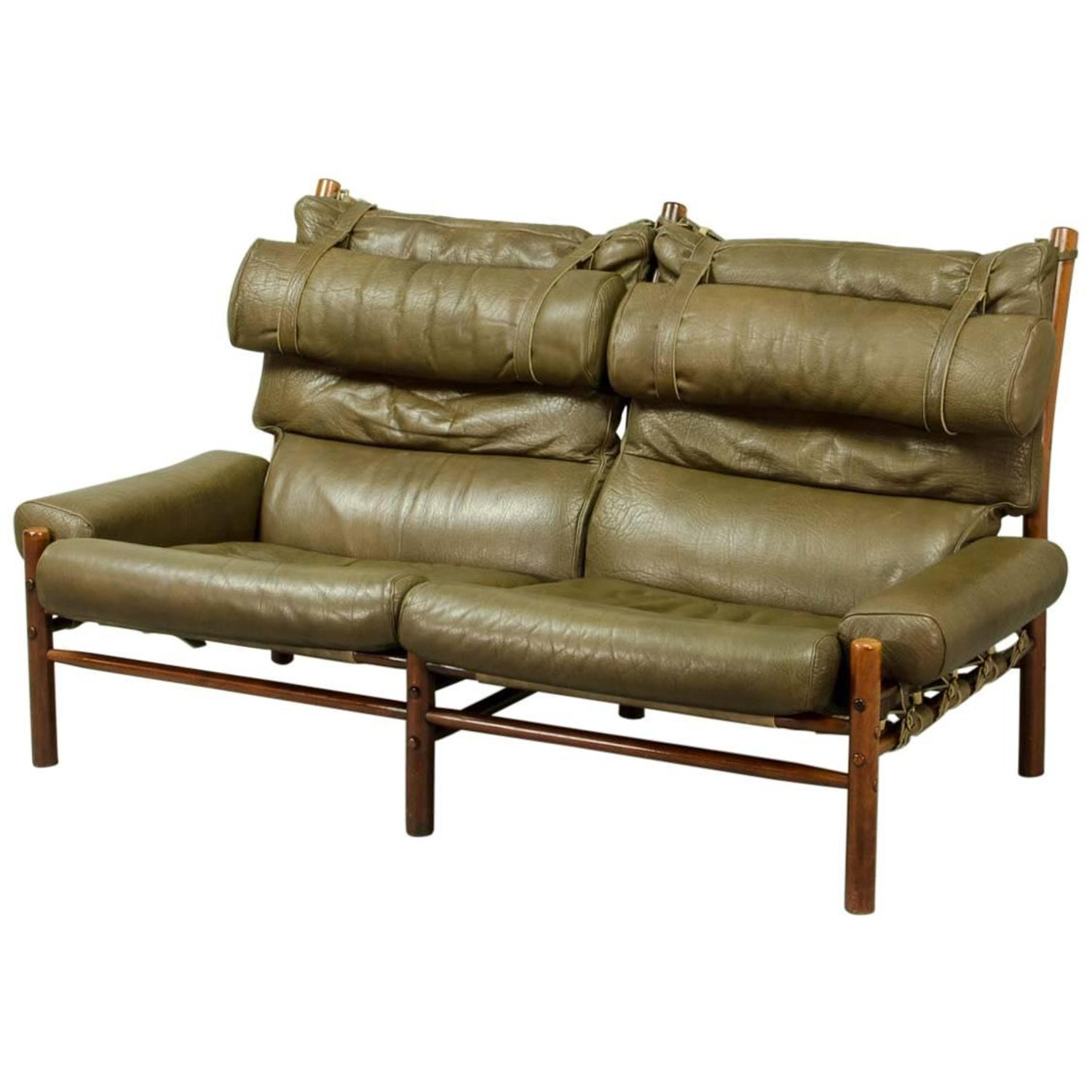 Swedish Mid Century Modern Black Leather Sofa by Arne Norell at