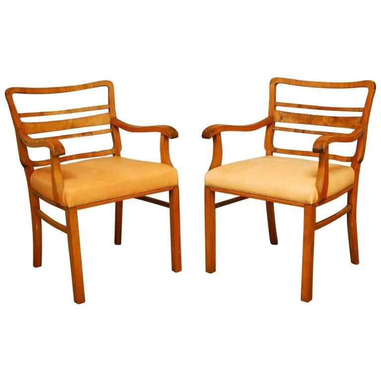 Pair of Mid-Century Mahogany and Leather Library Chairs