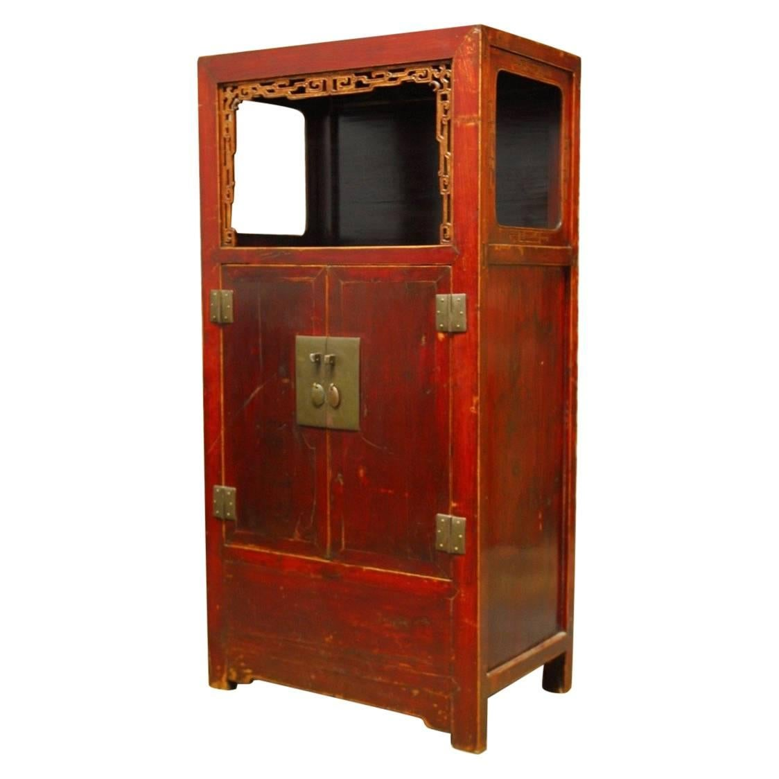 Chinese Red Lacquer Cabinet With Display Shelf 1