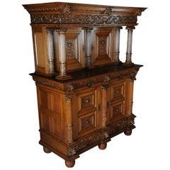 19th Century Neo Renaissance Cabinet Buffet, Solid Oak
