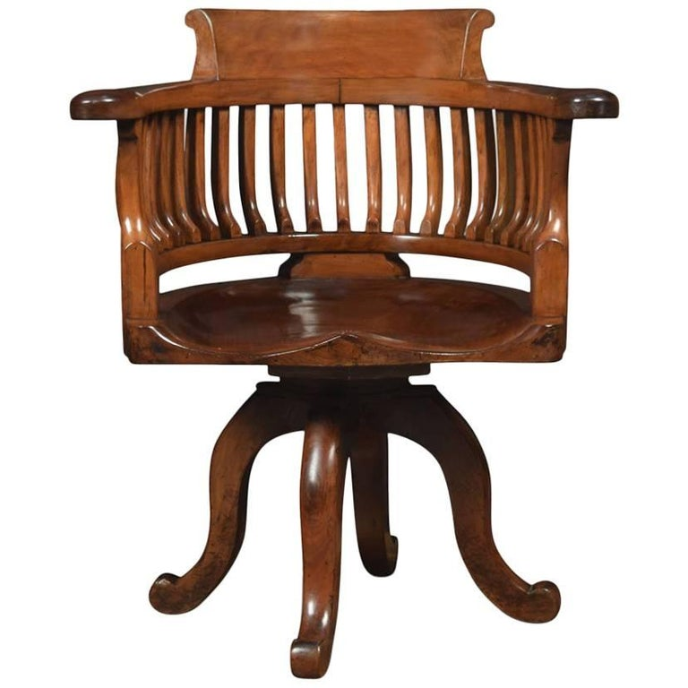 Walnut Office Captain S Revolving Desk Chair For Sale At