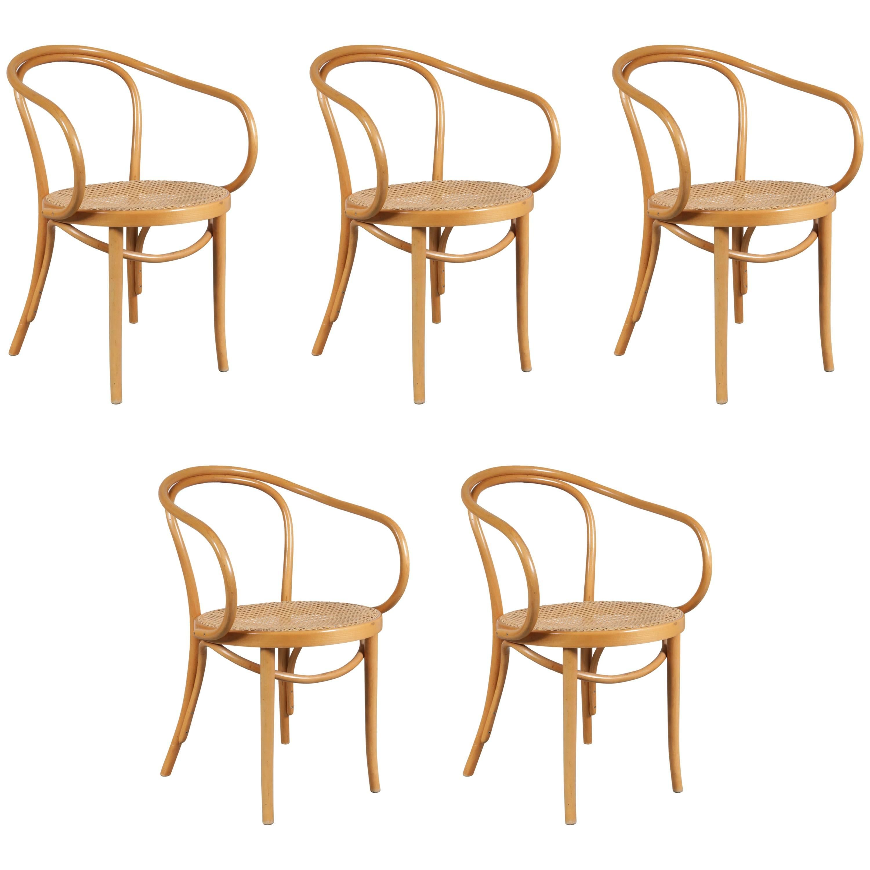 Set Of Five Bentwood Armchairs By Michael Thonet, Germany 1920 For Sale