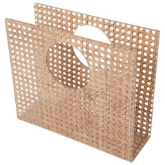 Christian Dior Home Attributed Lucite and Cane Magazine Holder