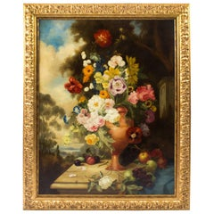 Large Antique Continental School Floral Still Life Oil Painting 19th Century