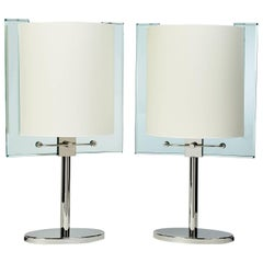 Important Pair of Fontana Arte Glass Table Lamps, circa 1990
