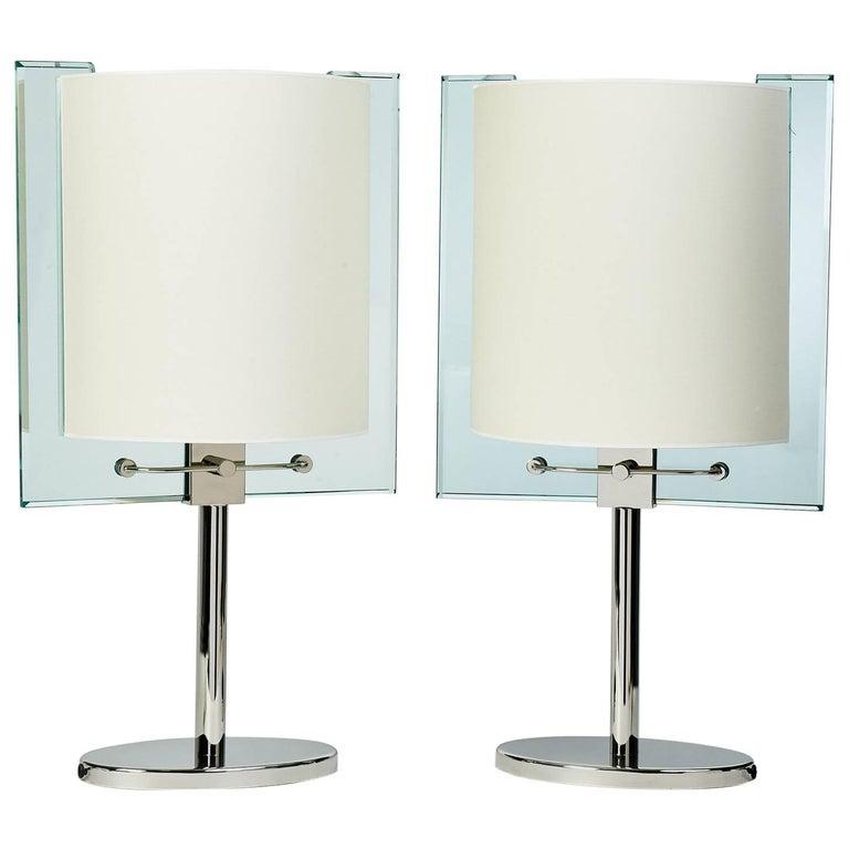 Important Pair of Fontana Arte Glass Table Lamps, circa 1990