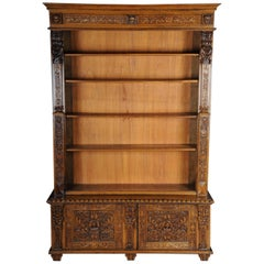 19th Century Neo-Renaissance Bookshelf, Solid Oak
