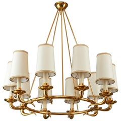 Elegant Ten Branch Polished Brass Chandelier, Italy, 1950s