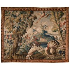 18th Century Aubusson Verdure Tapestry with Two Turkeys and an Exotic Bird