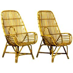 Pair of Mid-Century Rattan High Back Easy Armchairs in Style of Viggo Boesen