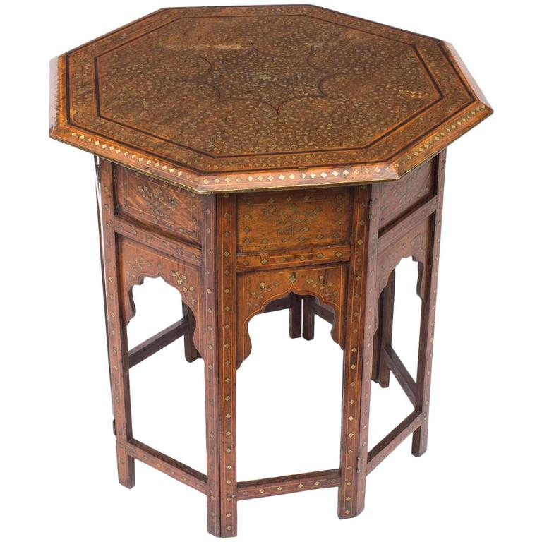Antique Indian Coffee Tables: Antique Anglo-Indian Brass Inlaid Hardwood Occasional