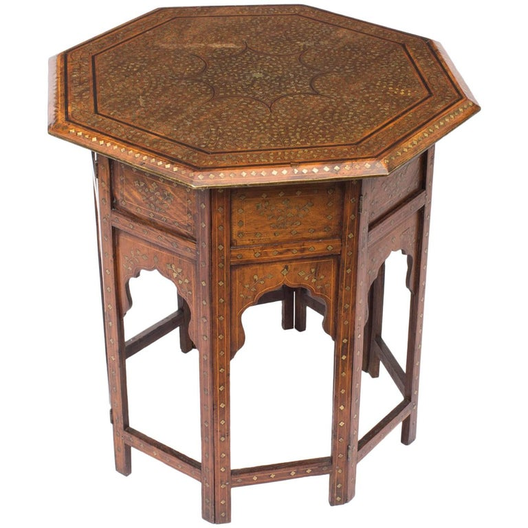Indian Reclaimed Wood Coffee Table: Antique Anglo-Indian Brass Inlaid Hardwood Occasional