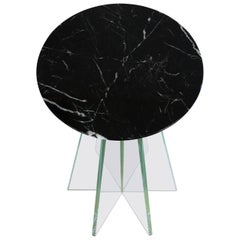 Atlas Side Table, Contemporary Glass and Nero Marquina Marble Accent Table