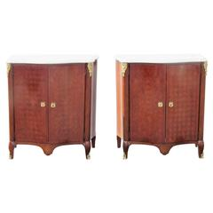 Pair of Jansen Parquetry Inlaid Marble-Top Two-Door Cabinets