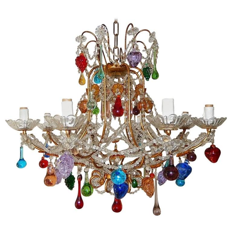 Murano Chandelier Color: Italian Murano Multi-Color Fruit And Drops Chandelier