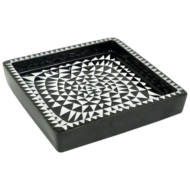 Black White Domino Ceramic Plate by Stig Lindberg for Gustavsberg Sweden, 1950s