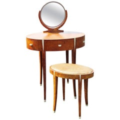 Deco Style Vanity & Bench Attributed to Ruhlmann