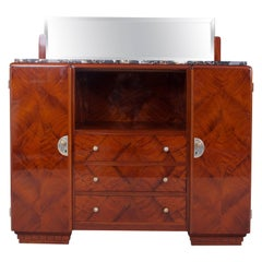 Mahogany Art Deco French Sideboard with Marble Desk and Mirror - 1920-1929