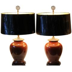 Pair of Vintage Chinese Porcelain Iron Rust Cinnamon Brown Monochrome Vase Lamps