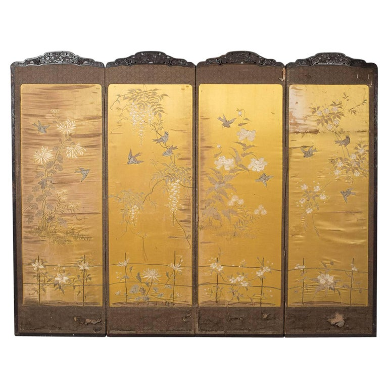 Antique Four Fold Screen Victorian Room Divider at 1stdibs