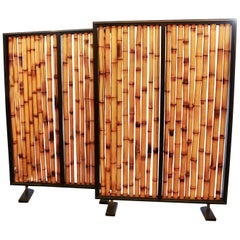 Pair of Bamboo Screens Room Dividers Attributed to Slavik, France, 1970s