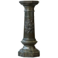 Victorian Green Marble Pedestal with Revolving Top and Carved Floral Medallion