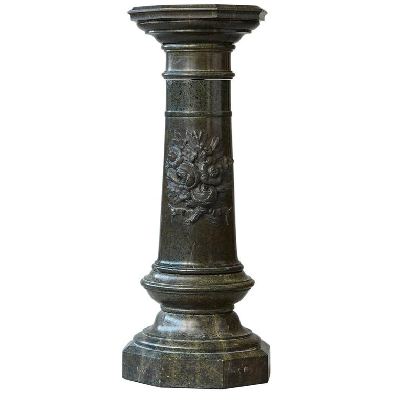 Victorian green marble pedestal with revolving top and Victorian columns