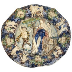 French Bernard Palissy Figural Majolica Plaque, 16th-17th Century
