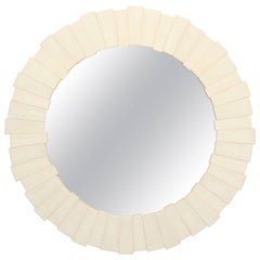 Contemporary Karl Springer Style Faux Shagreen Claude Mirror, 2000