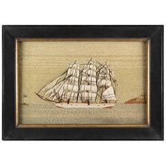 White Hulled Sailing Ship in Full Sail