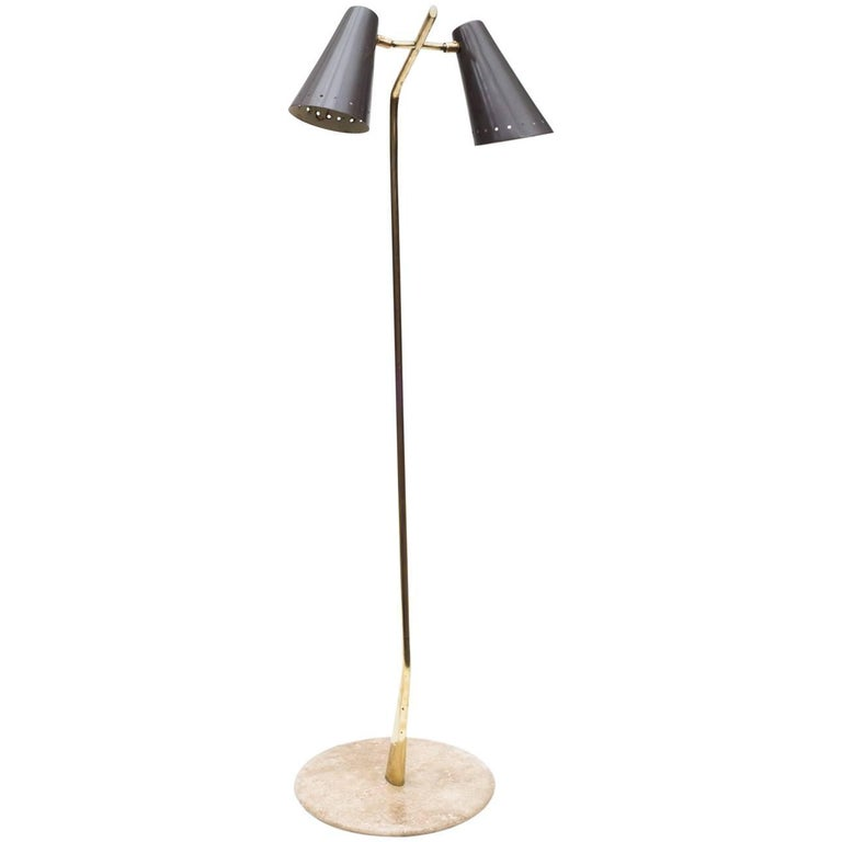 Lumens Mid-Century Dual Shade Brass and Marble Floor Lamp, Italy, 1970s