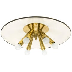 Six-Arm Brass and Lacquered Saucer Flush Mount, 1950s