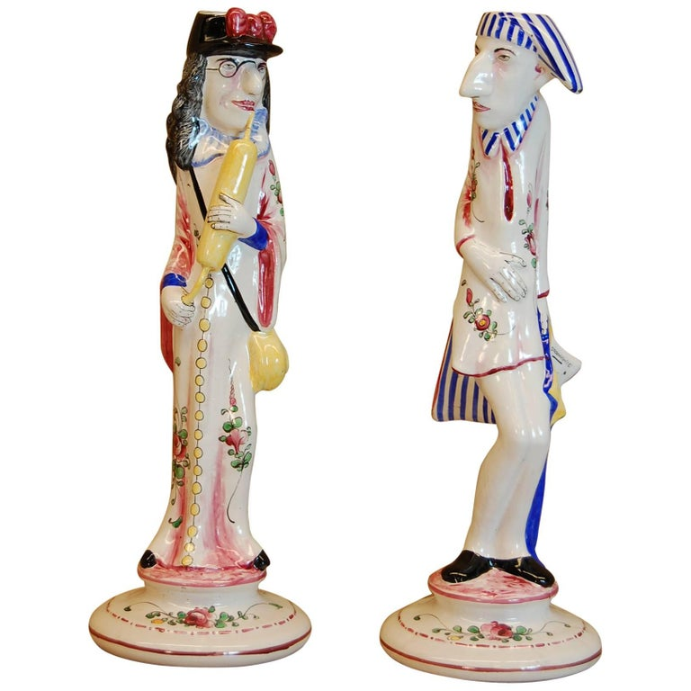 Pair of Faience Decorated Candlesticks of Doctor & Patient, Possibly Desvres