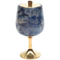 Aldo Tura Goatskin Parchment and Brass Ice Bucket, Italy, 1960s