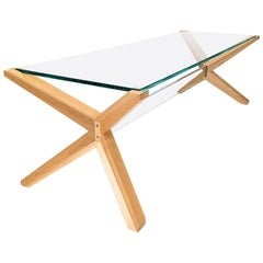 Stay Table, Contemporary Ash and Glass Architectural Coffee Table