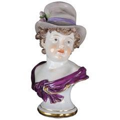 19th Century Meissen Figurine Bust Designed by Kaendler