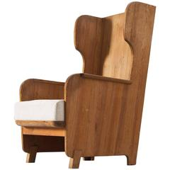 Axel Einar Hjorth 'Lovö' High Back Chair in Solid Pine