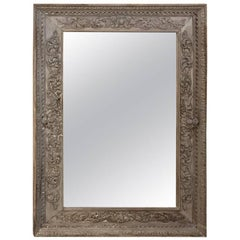 19th Century Grand Hand-Carved Renaissance Stripped Oak Mirror