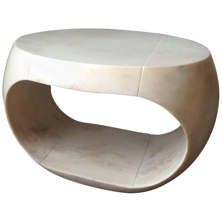 Cream Colored Cast Resin Drum Table With Parchment Distressed Surface For