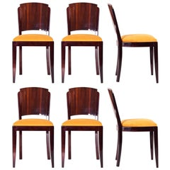 French Set of Chairs, Six Pieces Designed by French Architect Jules Leleu