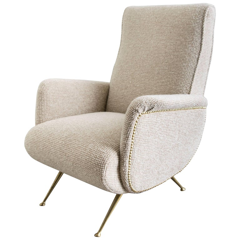 Italian Mid-Century Lounge Chair with Brass Legs in the Style of Marco Zanuso